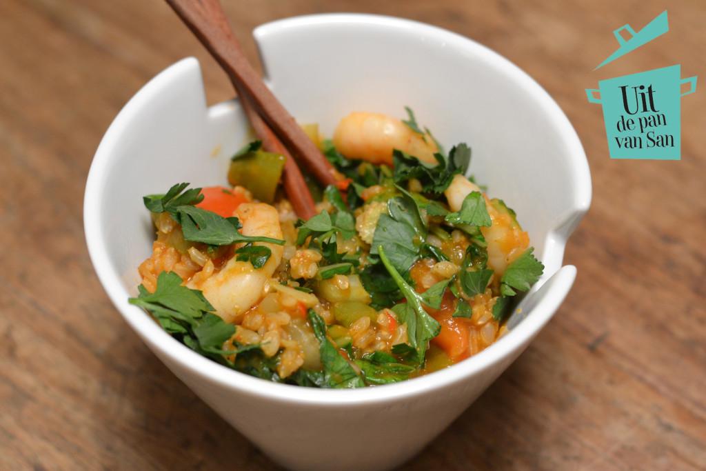 Thaise rijst met garnalen met logo