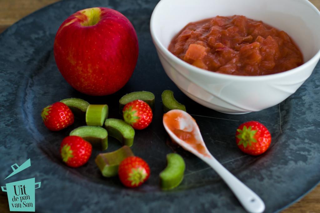 Rabarber aardbei appel compote-met logo