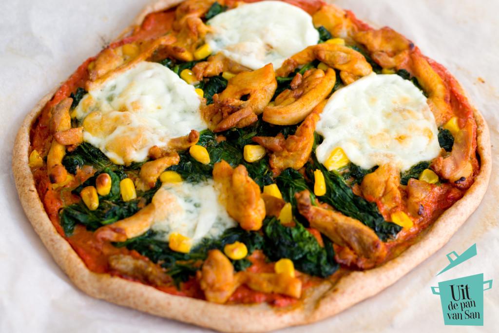 Kip spinazie pizza- met logo