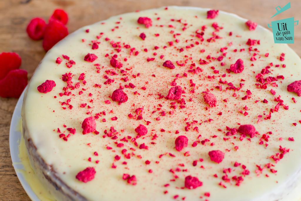 Witte chocolade frambozen taart-met logo