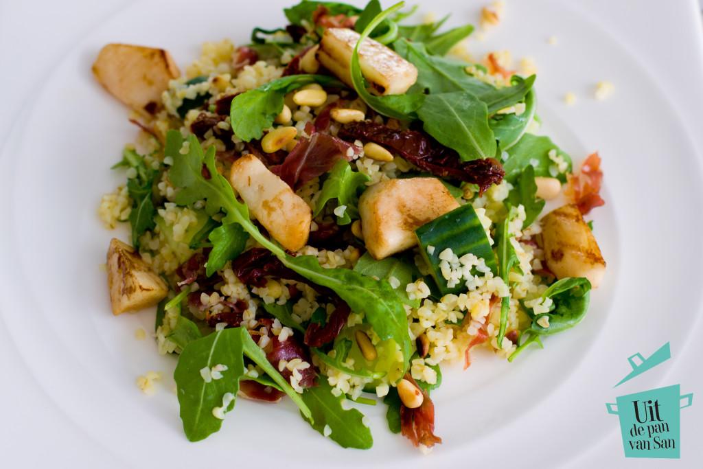 Bulgur salade met gegrilde perzik-met logo