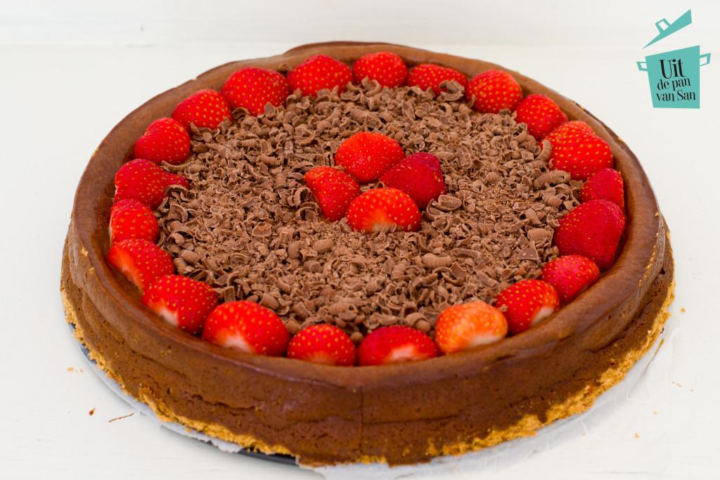 Chocolade cheesecake-met logo