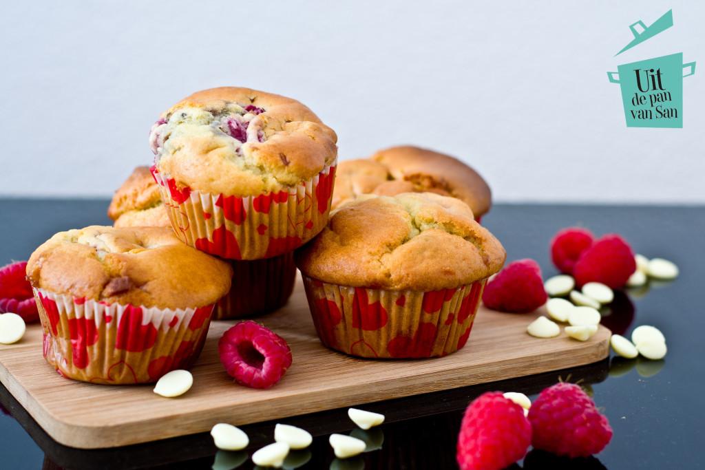Framboos ricotta muffins-met logo