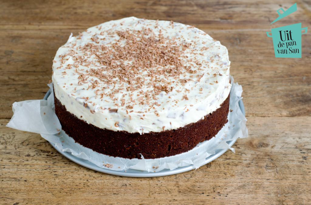 Brownie straciatella taart-met logo