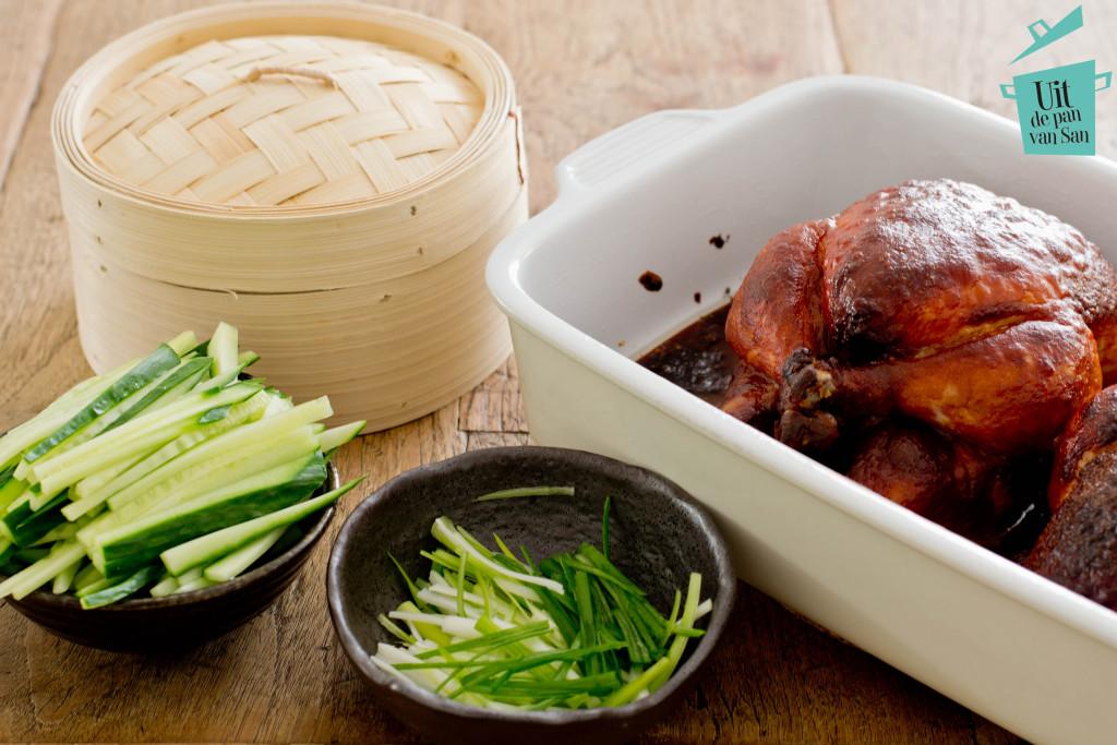 Chinese kip uit de oven met logo